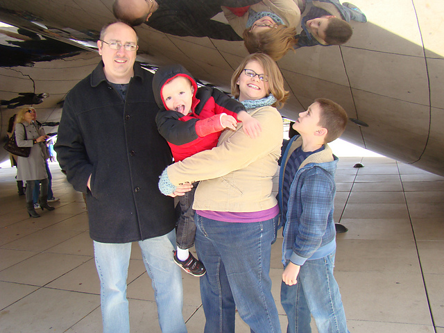 My family visiting the bean in Millenium Park. Crochet Cowl by Niccupp Crochet