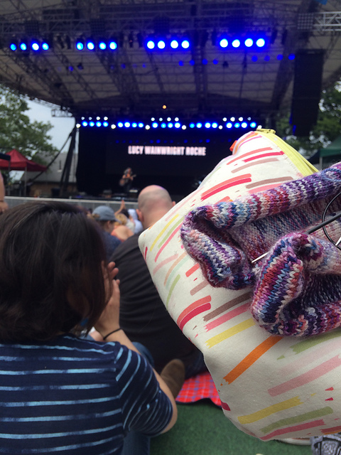 Nutmegknitter knits in Central Park at SummerStage