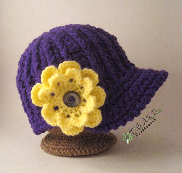Floral Crochet Hat Pattern : Crochet Hat & Flower Accent Patterns Tigard Needlework ...