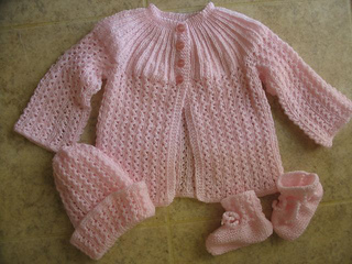 Ravelry Knitted Set In Ribbed Lace Pattern Pattern By Patons