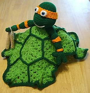 Crochet Pattern For Ninja Turtle Blanket : Ravelry: Ninja Turtle Lovey Blankie pattern by Knotty ...