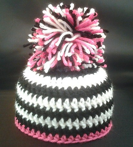 Free Crochet Zebra Patterns : Pink Zebra Baby Hat ? Free Crochet Patterns