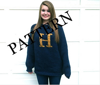 Knitting Pattern For Weasley Sweater : Ravelry: Blue Monogrammed Weasley Sweater pattern by LD ...