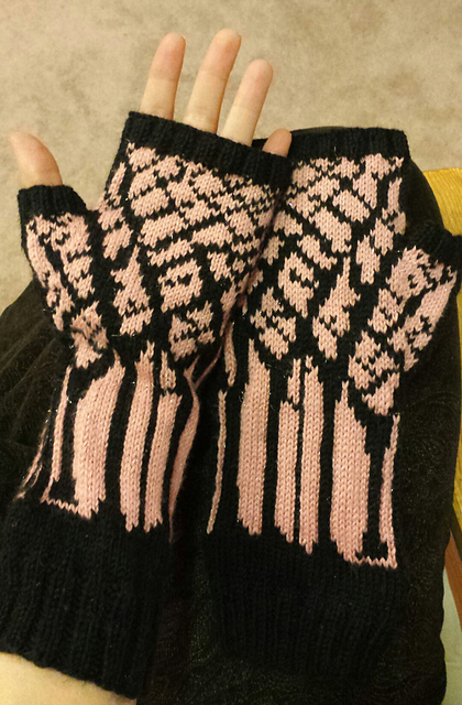 Winter Twilight Mitts, finished