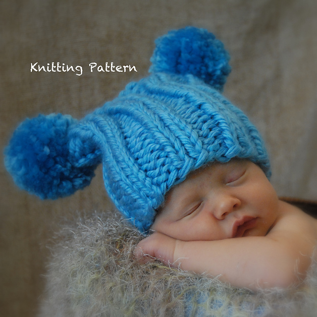 Ravelry Super Chunky Ribbed Jester Pompom Baby Hat Pattern By Angie