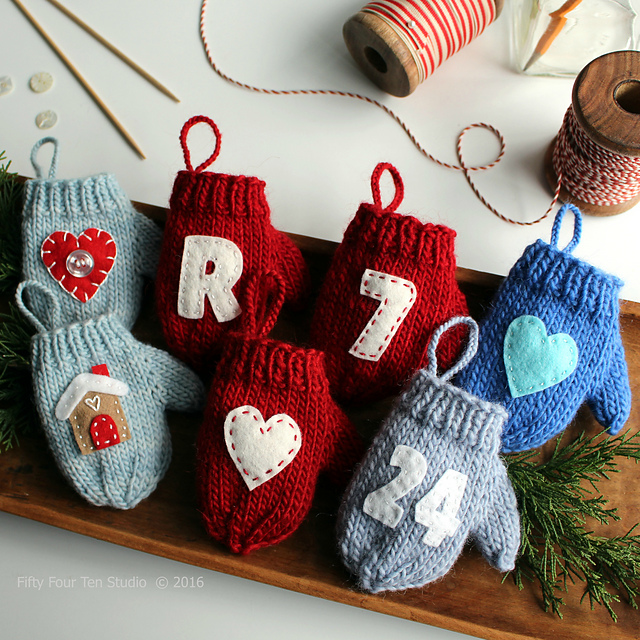 Ravelry Felt Applique Mitten Christmas Ornament Pattern By Fifty