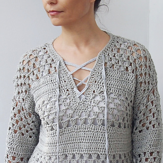 81ef10d6d Ravelry  Lace up granny stripes sweater pattern by Ana D