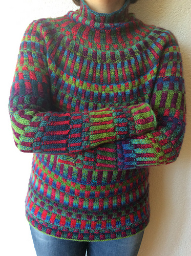 1d6d2dcf5 Just kitting this amazing sweater with the Knitting Without Tears book free  with purchase 4 Balls Zauberball Starke 6 in these colours