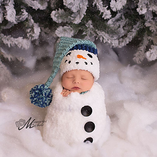 0fa344b4e Newborn Snowman Hat, Scarf, and Cocoon pattern by Amanda Kuhn