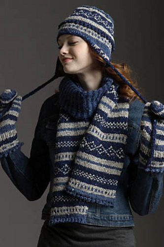 Ravelry: Fair Isle Scarf, Hat & Mittens pattern by Rosemary Drysdale