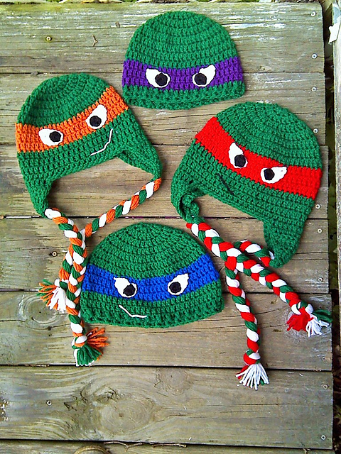 Ravelry: Ninja Turtles Beanie and Earflap Hats pattern by Ann J Bacon