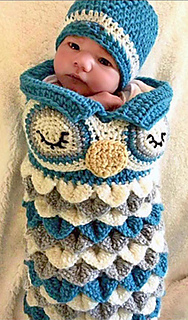 Ravelry  Newborn Owl Cocoon Hat - Olive pattern by Ava Girl Designs 7853458e2d14