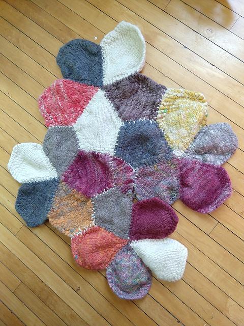 felted rug in progress