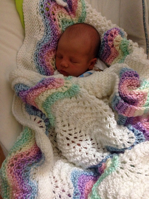 Ravelry Feather And Fan Rainbow Baby Blanket Pattern By Cathy Waldie