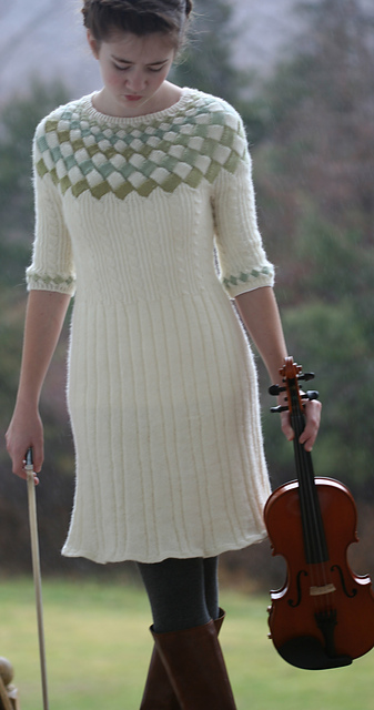 Ravelry Cecilias Song Entrelac Cable Sweater Dress Pattern By