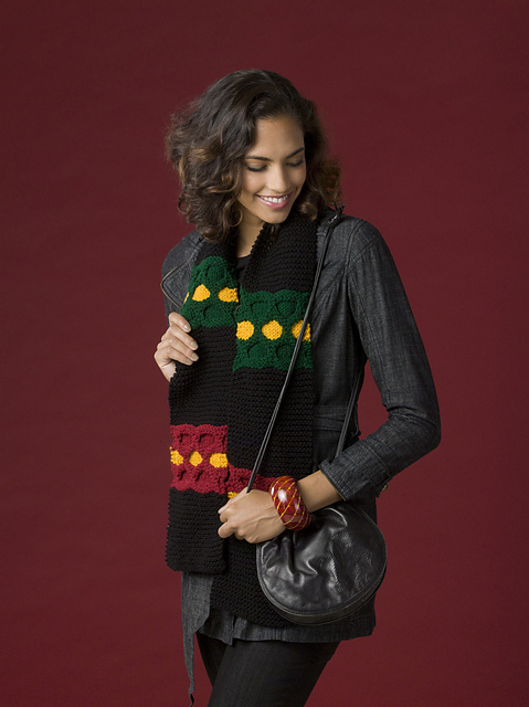 Kwanzaa themed scarf in black, red, green, and yellow