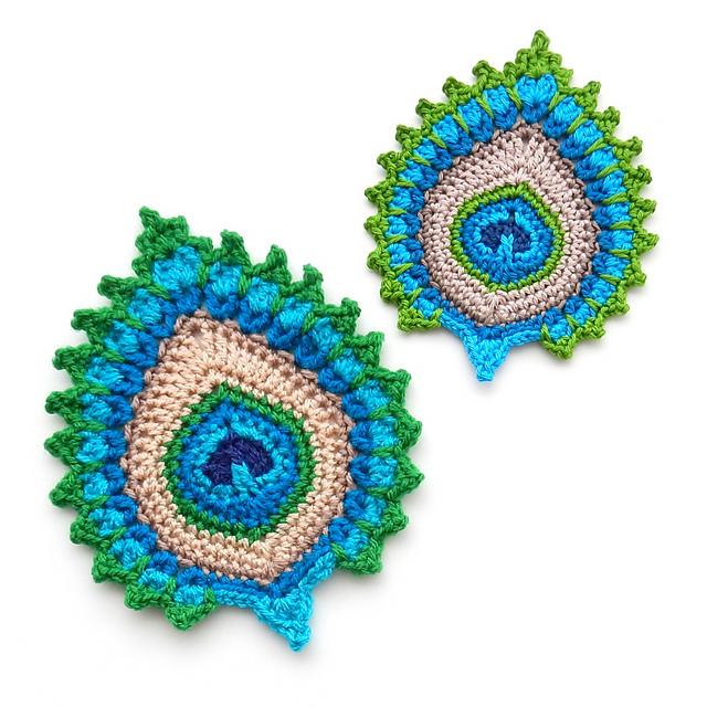 Ravelry: Peacock Feather Motif, Garland, Coaster Nemali pattern by ...