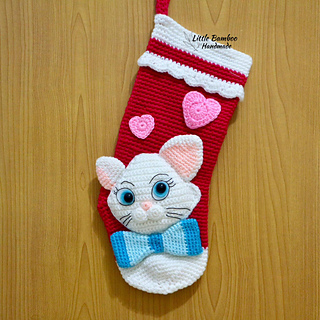 Cat Christmas Stockings.My Lovely Cat Christmas Stocking Pattern By Little Bamboo Handmade