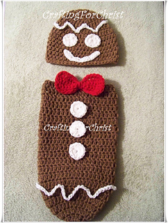 ab31a6633 Ravelry: B's Gingerbread Man Hat and Cocoon: pattern by Crafting ...