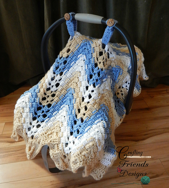 Ravelry Trisquare Chevron Carseat Coverinfant Afghan Pattern By