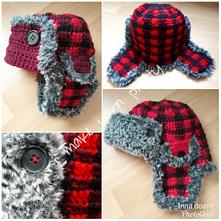 dfb779d69f9b6 Ravelry  Buffalo Plaid Trapper s Hat pattern by Trina Doane