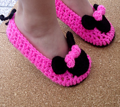 Free Crochet Pattern Minnie Mouse Shoes : Ravelry: Miss Bow Mouse Crochet Shoes Child Pattern ...