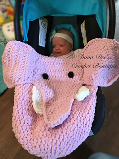 Ravelry Baby Elephant Car Seat Blanket Pattern By Dana Draves
