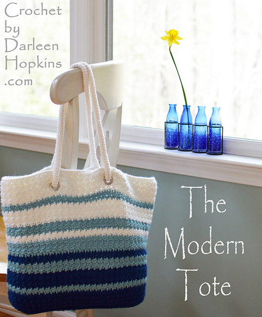 Ravelry Modern Tote Bag Pattern By Darleen Hopkins