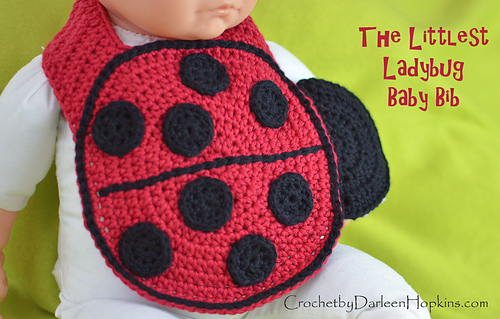 Ravelry Littlest Ladybug Baby Bib And Rattle Pattern By Darleen Hopkins