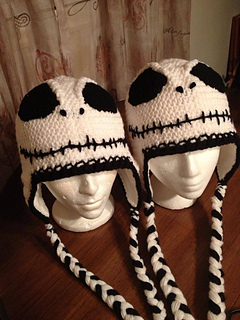Skellington inspired Skeleton EYES only applique for crochet beanie d3fae4cf342