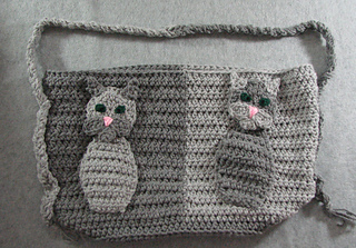 Ravelry cat applique purse pattern by donna collinsworth