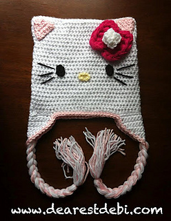 5ee499eb375 Ravelry  Hello Kitty Inspired Crochet Hat pattern by Debi Dearest