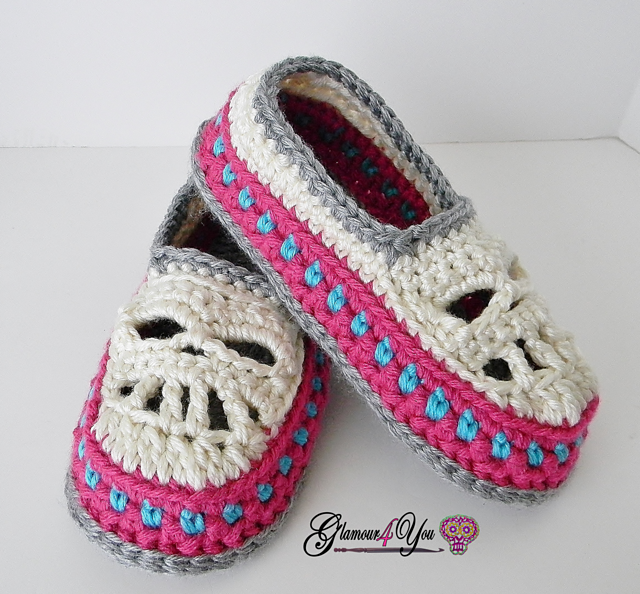 Ravelry Glamour Skull Slipper Shoes Women Sizes Pattern By