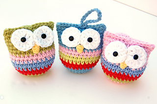 Ravelry Owl Christmas Ornaments pattern by Rebecca Homick