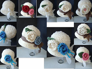 Ravelry  563 CROCHET cloche hat with roses 06f605114be
