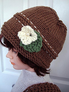 680 KNITTED Taupe Hat, baby to adult pattern by Emi Harrington