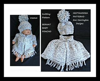 2068 Knit Baby Poncho pattern by Emi Harrington