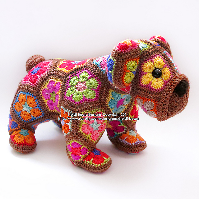 Ravelry Max The African Flower Bulldog Pattern By Heidi Bears
