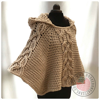 Ravelry Milena Twist Cable Hooded Poncho Pattern By Ling Ryan