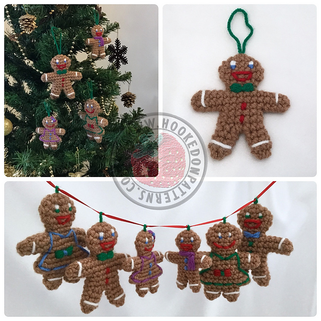 Ravelry: Gingerbread Family Christmas Tree Decorations pattern by ...