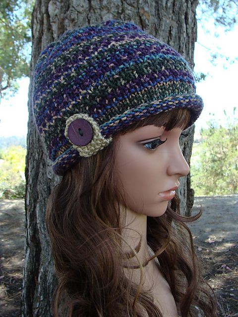 Ravelry Roll Up Brim Knit Hat With Button And Strap Pattern By Mary