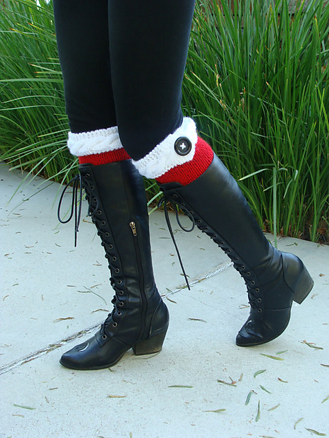 Ravelry Santa Cable Band Knit Boot Cuffs With Black Button Pattern