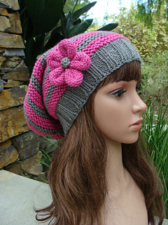 ddb9a4ba9b1 Ravelry  Pink and Grey Striped Slouchy With Knit Flower pattern by Mary  Legere   IKnit4aCure