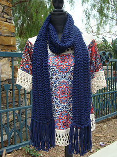 Reversible knit scarf with unique loop fringe pattern by Mary Legere