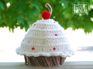 db50708e498 Ravelry  Cherry Cupcake Beanie Hat with Sprinkles pattern by Ira Rott