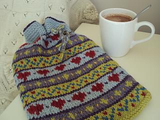 Hearts Fairisle Hot Water Bottle Cover pattern by Sian Brown Knitwear Design