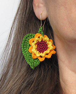 Ravelry Sunflower And Leaf Crochet Earrings Pattern By Karina Rose