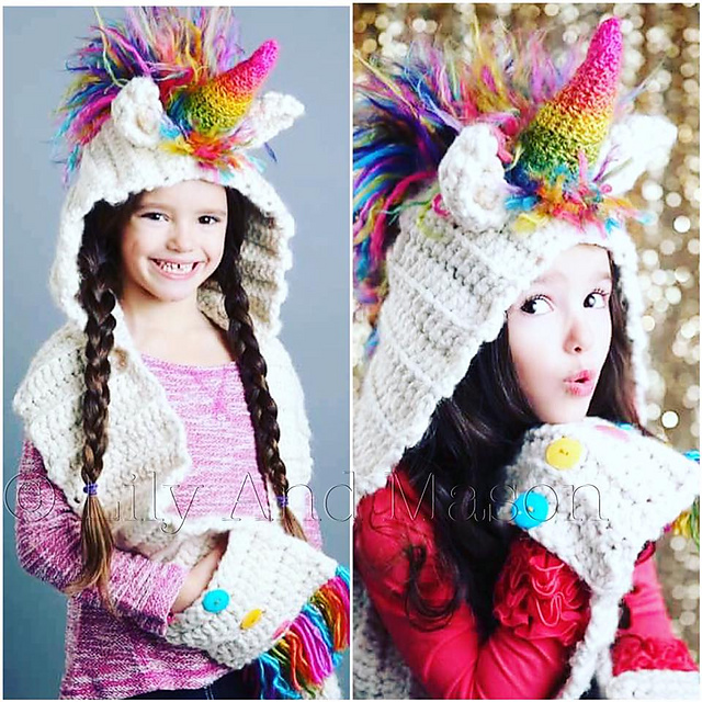 patterns   Lily And Mason s Ravelry Store.   Rainbow Unicorn Hooded Scarf 9c324ea162c