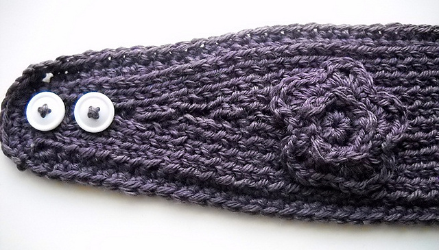Ravelry: Knit Headband Tapered with Crochet Edge and Flower pattern ...