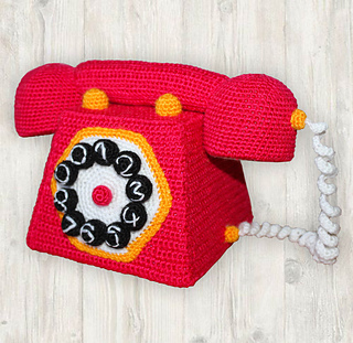 172f2cd352 Ravelry  Red Retro Telephone   Corded Phone pattern by Kristine Kuluka